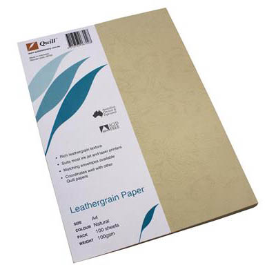 Image for QUILL BINDING COVER LEATHERGRAIN A4 PAPER NATURAL PAPER PACK 100 from Wetherill Park / Smithfield Office National