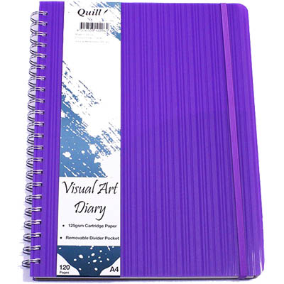 Image for QUILL VISUAL ART DIARY 125GSM 120 PAGE A4 PP VIOLET from Wetherill Park / Smithfield Office National
