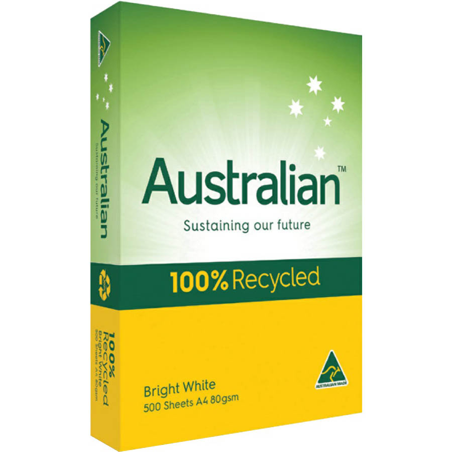 Image for AUSTRALIAN A4 100% RECYCLED COPY PAPER 80GSM WHITE PACK 500 SHEETS from Aztec Office National Melbourne