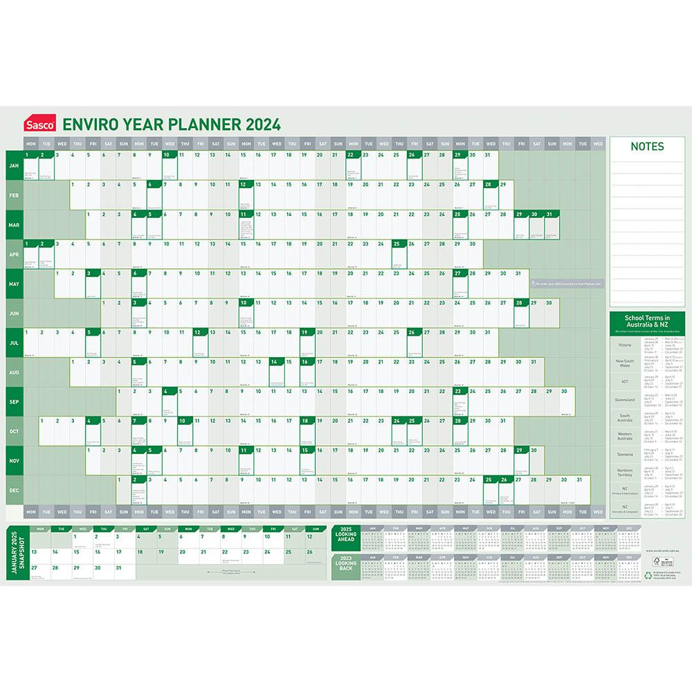 Image for SASCO 2021 ENVIRO YEAR PLANNER 870 X 610MM from Paul John Office National