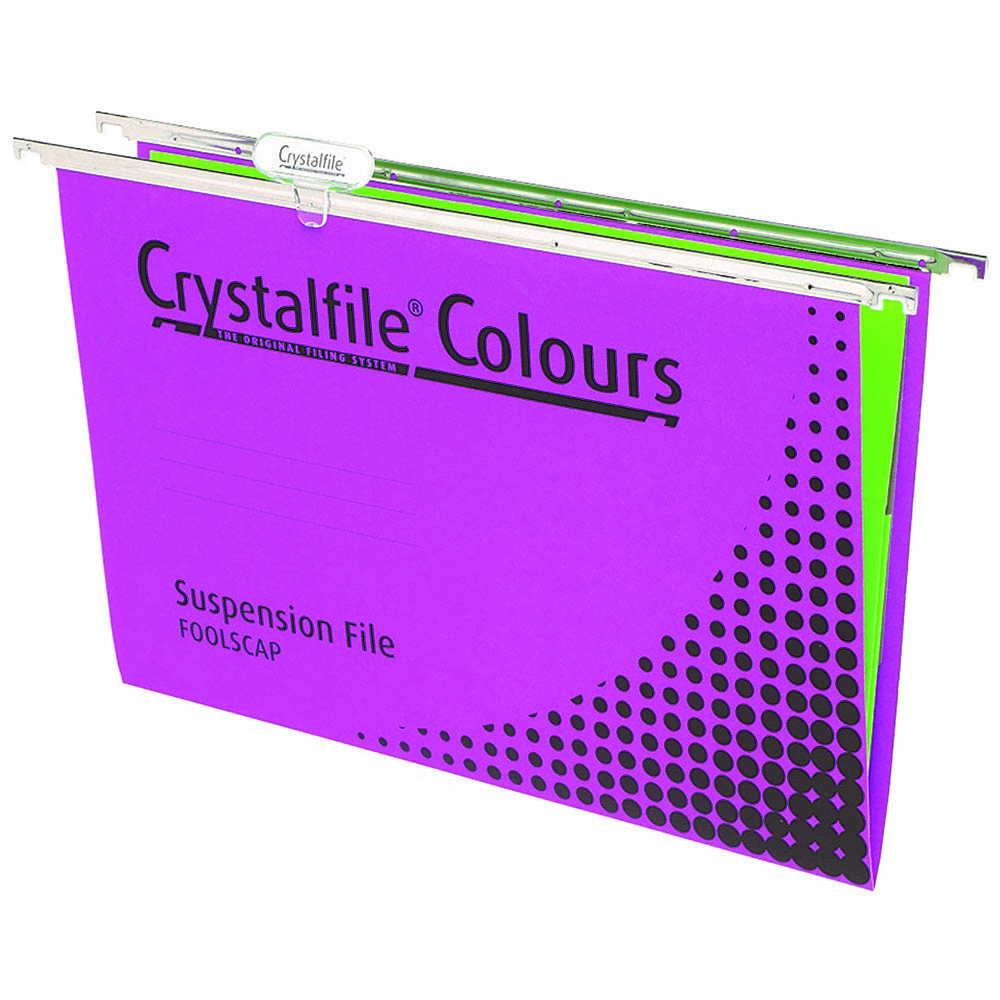 Image for CRYSTALFILE COLOURS SUSPENSION FILES FOOLSCAP PURPLE BOX 10 from Paul John Office National