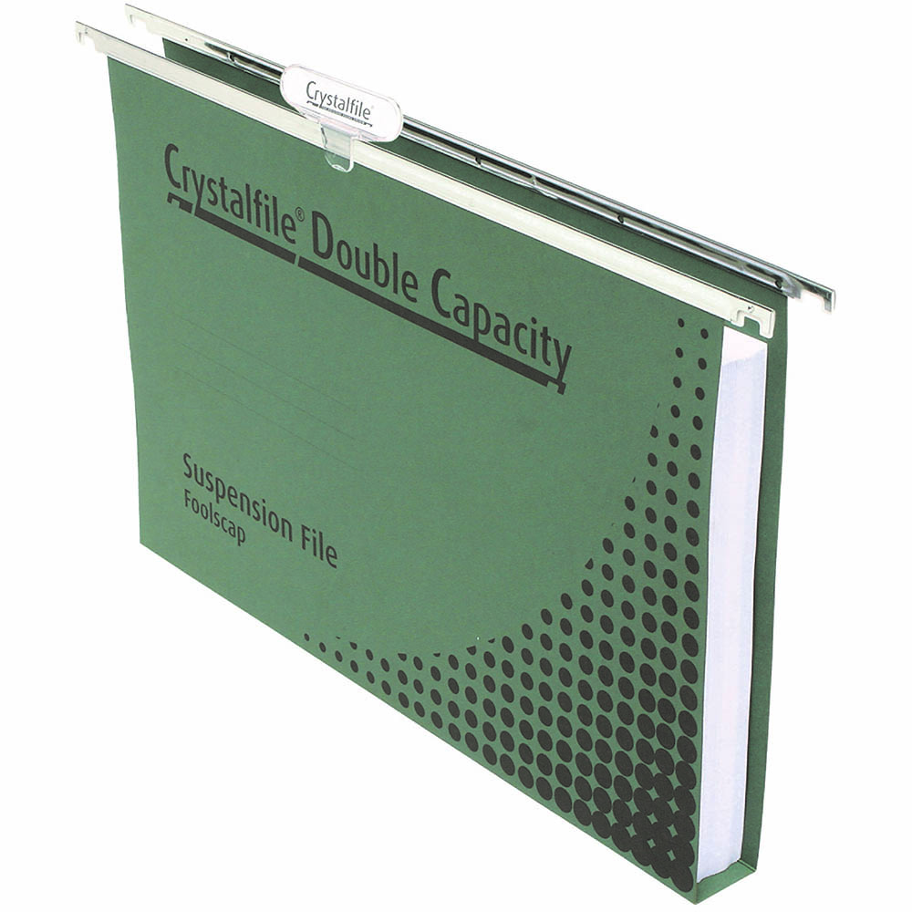 Image for CRYSTALFILE DOUBLE CAPACITY SUSPENSION FILES 30MM FOOLSCAP GREEN PACK 10 from Office National Perth CBD