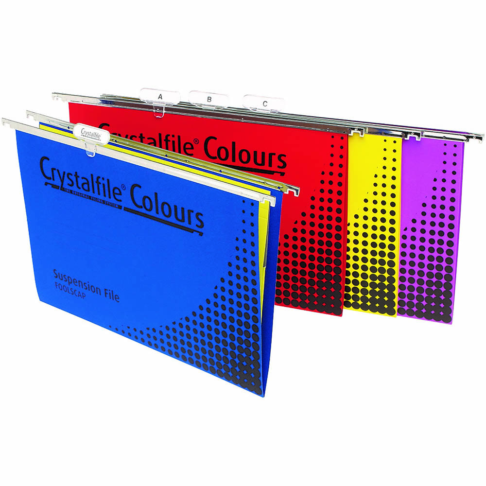 Image for CRYSTALFILE COLOURS SUSPENSION FILES FOOLSCAP ASSORTED PACK 25 from Paul John Office National
