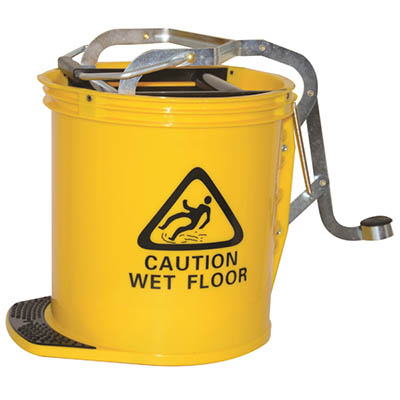 Image for CLEANLINK MOP BUCKET HEAVY DUTY WITH METAL WRINGER YELLOW from Office National Limestone Coast