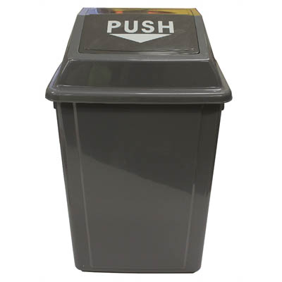 Image for CLEANLINK RUBBISH BIN WITH SWING LID 60 LITRE GREY from Pirie Office National