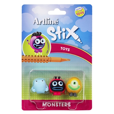 Image for ARTLINE STIX TOYS MONSTERS 1 ASSORTED PACK 3 from Axsel Office National