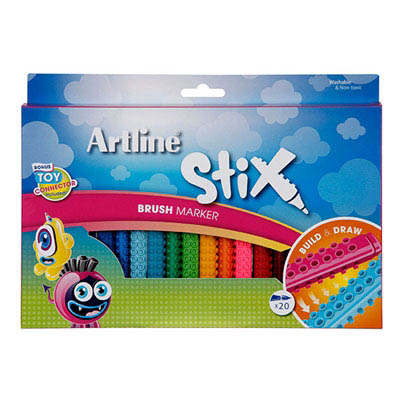 Image for ARTLINE STIX BRUSH MARKER ASSORTED PACK 20 from Office National Perth CBD