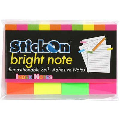 Image for STICK ON NOTES 50 SHEETS 50 X 20MM NEON ASSORTED PACK 4 from Mackay Business Machines (MBM)
