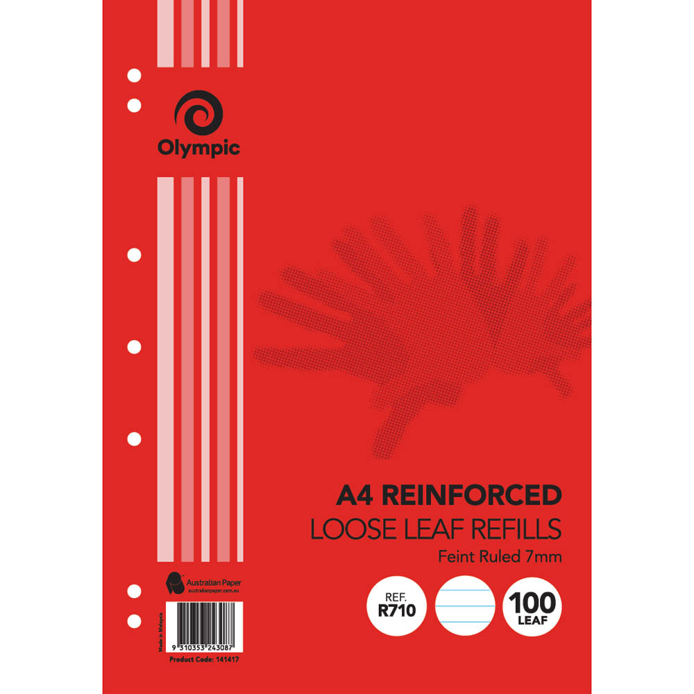 Image for OLYMPIC A4 REINFORCED LOOSE LEAF REFILL 7MM FEINT RULED 55GSM PACK 100 from Paul John Office National