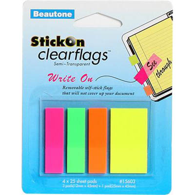 Image for STICK ON CLEAR FLAGS WRITE ON 25 SHEETS 12 X 45MM ASSORTED PACK 100 from Mackay Business Machines (MBM)