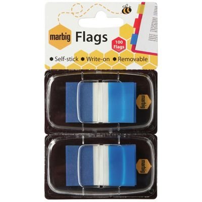 Image for MARBIG FLAGS POP-UP 50 FLAGS 25 X 44MM BLUE PACK 2 from Axsel Office National