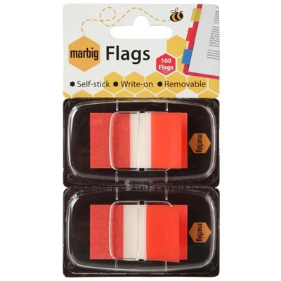 Image for MARBIG FLAGS POP-UP 50 FLAGS 25 X 44MM RED PACK 2 from Office National Perth CBD