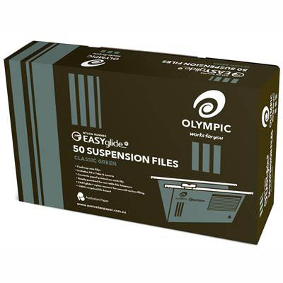 Image for OLYMPIC 100% RECYCLED EASY GLIDE SUSPENSION FILES FOOLSCAP GREEN PACK 50 from Axsel Office National