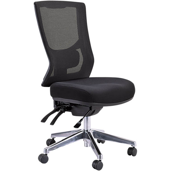 Image for BURO METRO II 24/7 OFFICE CHAIR MESH HIGH BACK 3-LEVER POLISHED ALUMINIUM BASE BLACK from Holiday Coast Office