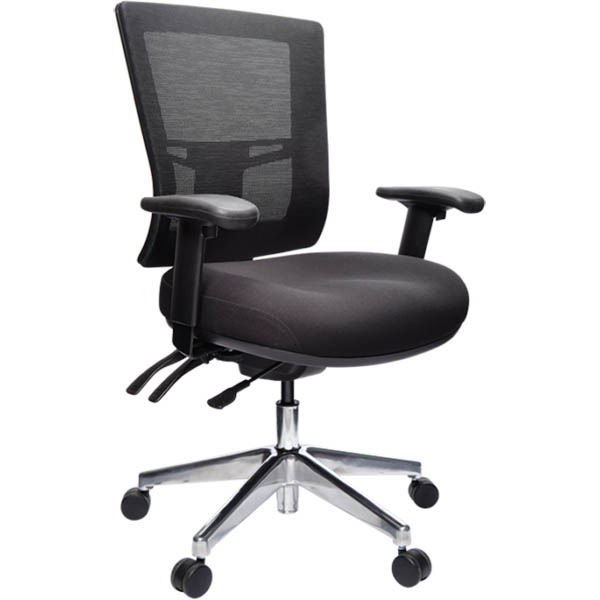 Image for BURO METRO II MESH CHAIR EXTRA HIGH BACK POLISHED ALUMINIUM BASE WITH ARMS BLACK from Memo Office and Art