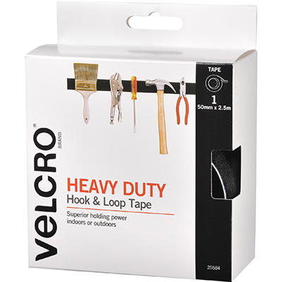 Image for VELCRO BRAND STICK-ON HEAVY DUTY HOOK AND LOOP TAPE 50MM X 2.5M BLACK from Surry Office National