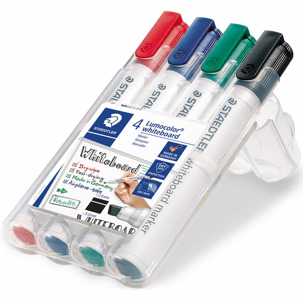 Image for STAEDTLER 351 LUMOCOLOR WHITEBOARD MARKER CHISEL ASSORTED WALLET 4 from Axsel Office National
