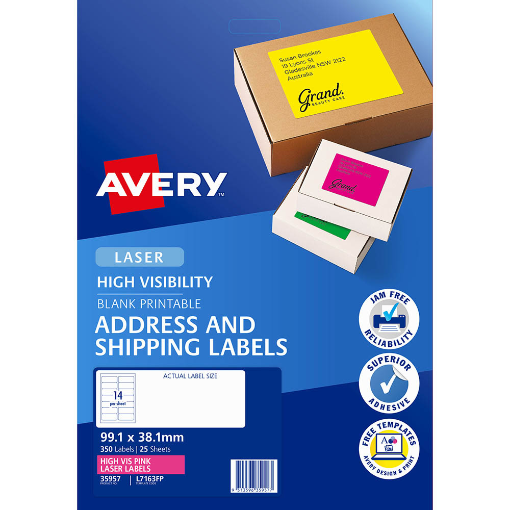 Image for AVERY 35957 L7163FP HIGH VISIBILITY SHIPPING LABEL LASER 14UP FLUORO PINK PACK 25 from Our Town & Country Office National