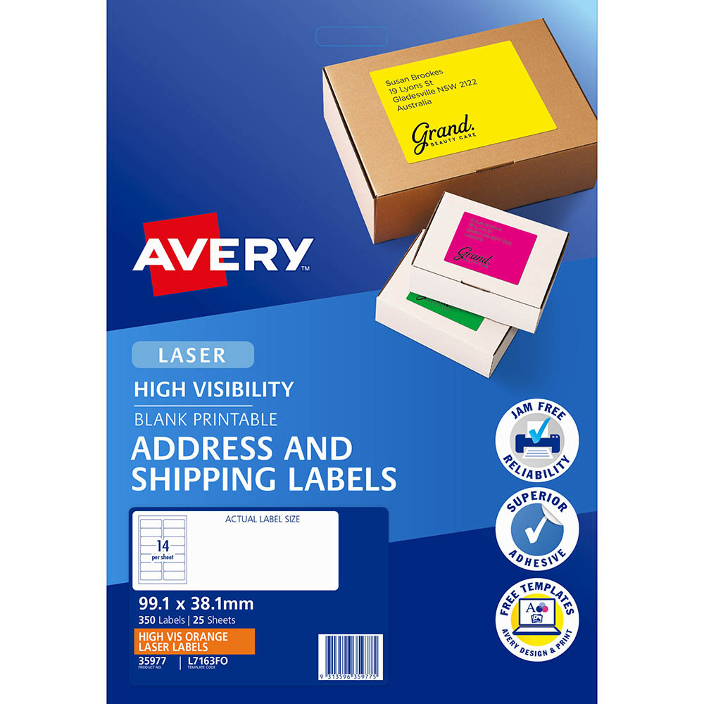 Image for AVERY 35977 L7163FO HIGH VISIBILITY SHIPPING LABEL LASER 14UP FLUORO ORANGE PACK 25 from Our Town & Country Office National
