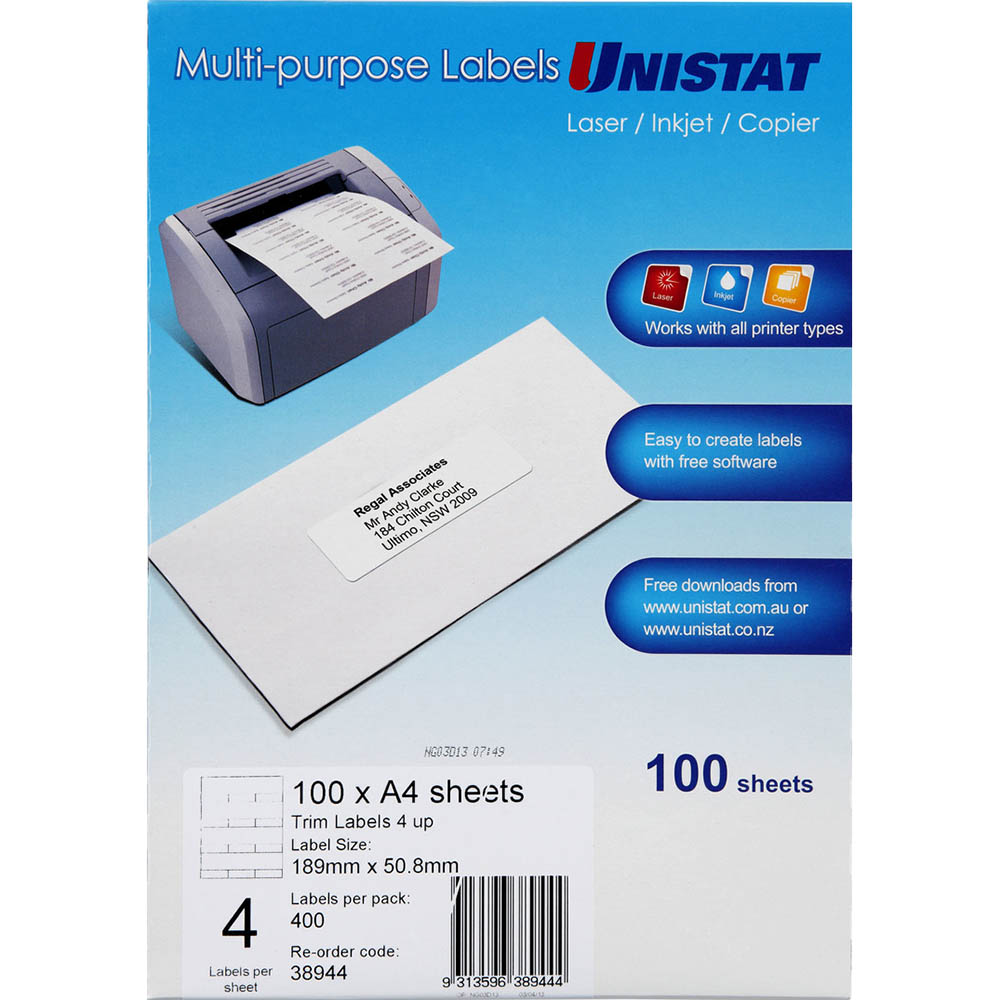 Image for UNISTAT 38944 TRIM LABEL A4 4UP PACK 100 from Axsel Office National
