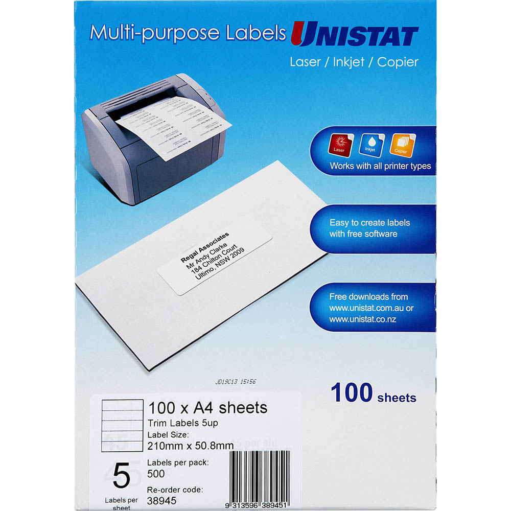 Image for UNISTAT 38945 TRIM LABEL 5UP A4 PACK 100 SHEETS from Axsel Office National