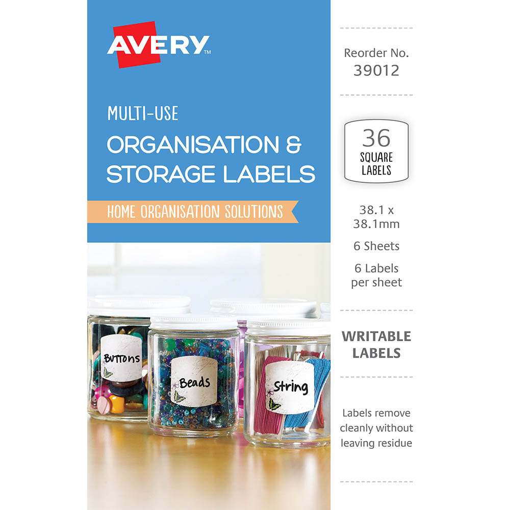 Image for AVERY 39012 ORGANISATIONAL AND STOREAGE LABELS SQUARE 38.1 X 38.1MM WHITE WITH BUTTERFLIES PACK 36 from The Paper Bahn Office National