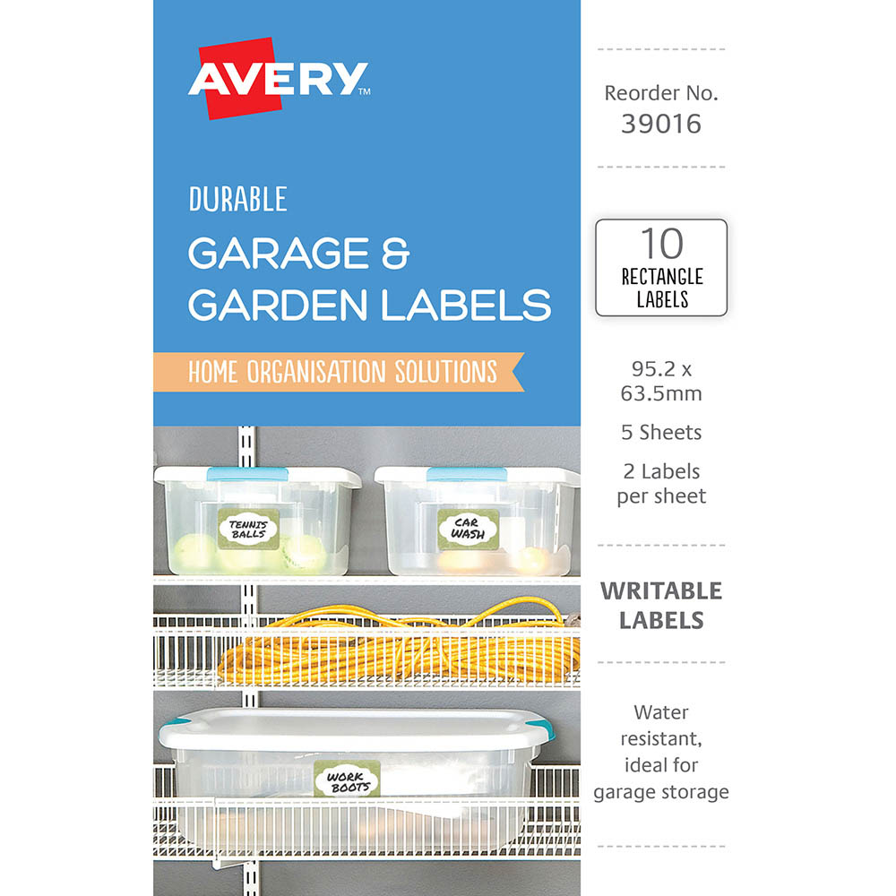 Image for AVERY 39016 DURABLE REMOVABLE LABELS 95.2 X 63.5MM WHITE WITH GREEN BORDER PACK 10 from The Paper Bahn Office National