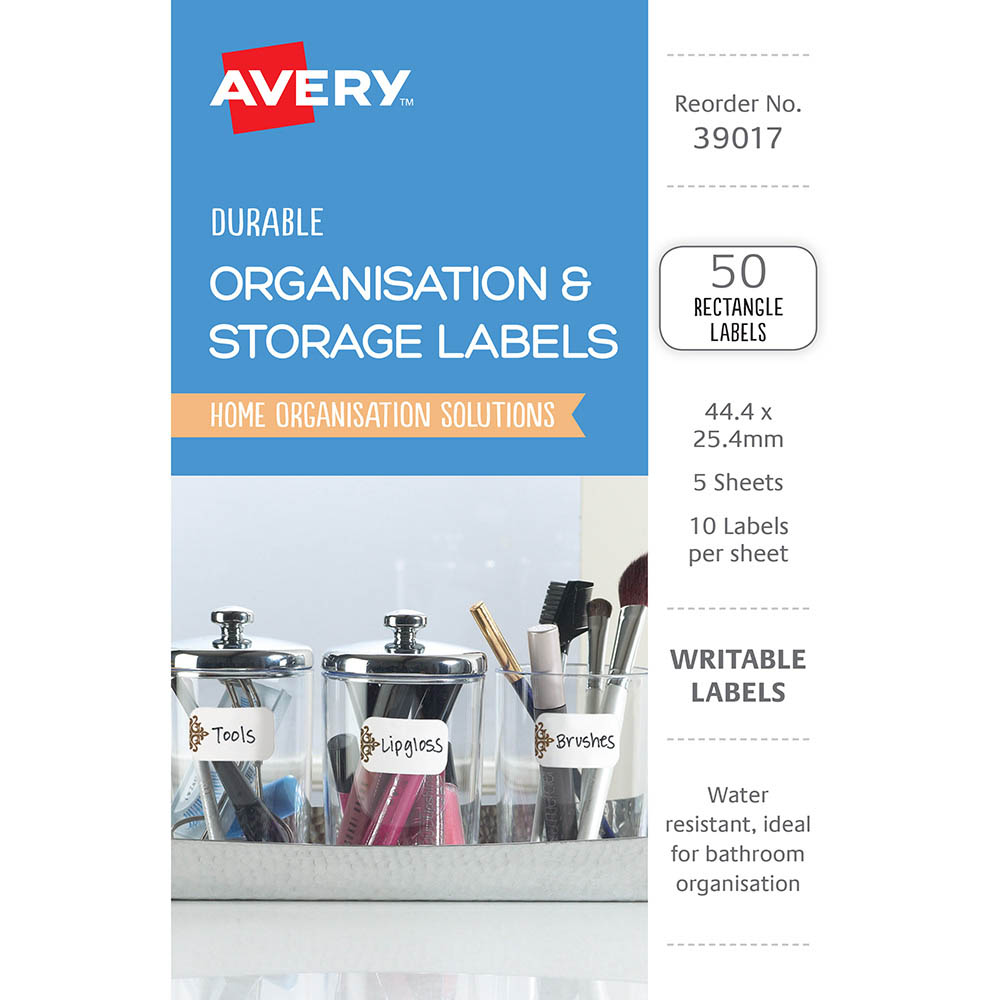 Image for AVERY 39017 DURABLE REMOVABLE LABELS 44.4 X 25.4MM WHITE WITH BROWN DETAILS PACK 50 from The Paper Bahn Office National
