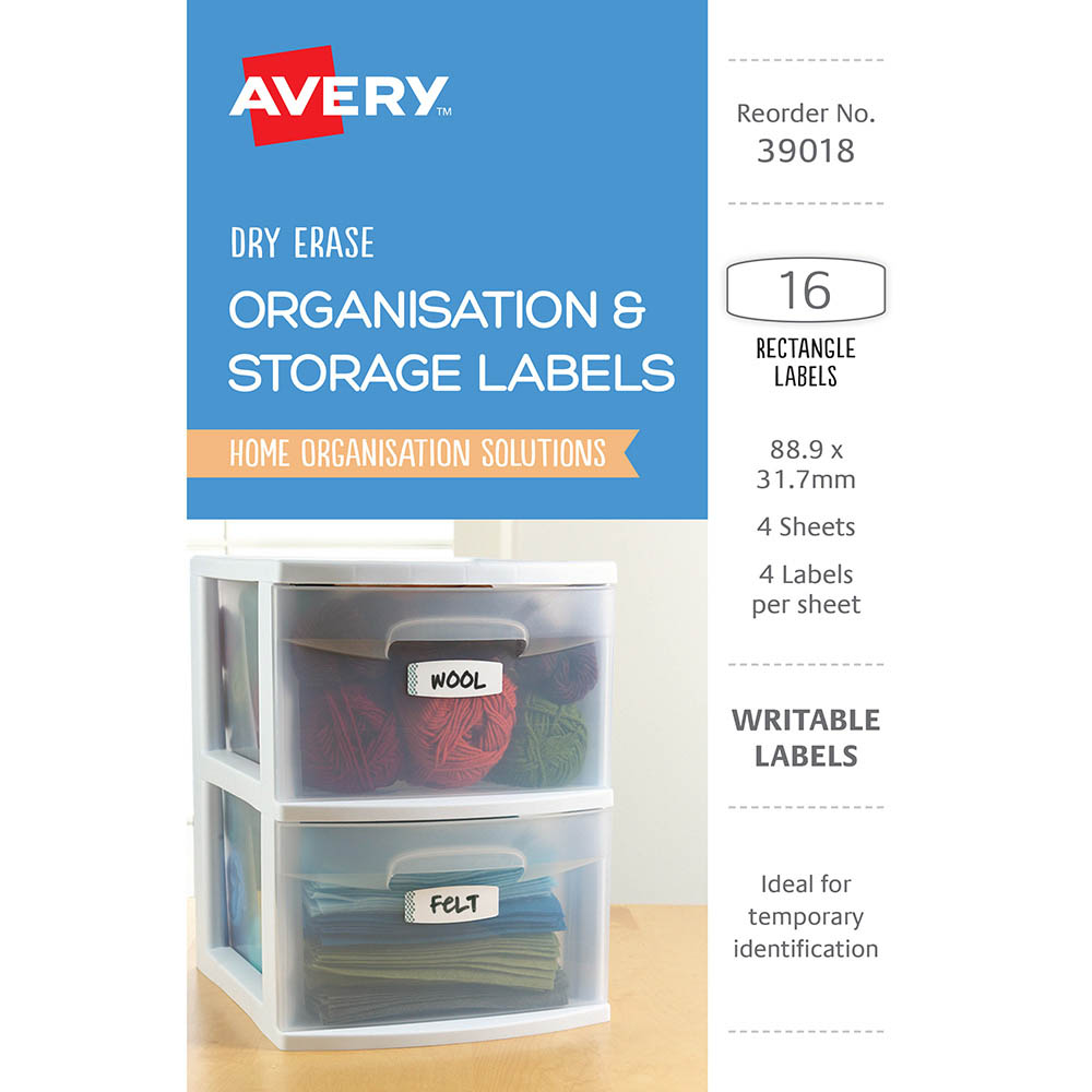 Image for AVERY 39018 LABELS ERASE DRY REMOVABLE 88.9 X 31.7MM WHITE WITH BLUE DETAILS PACK 16 from The Paper Bahn Office National