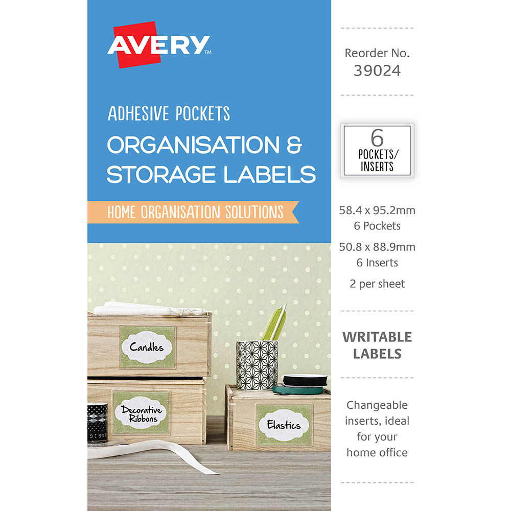 Image for AVERY 39024 POCKETS ADHESIVE WITH WHITE INSERTS CLEAR PACK 6 from Axsel Office National