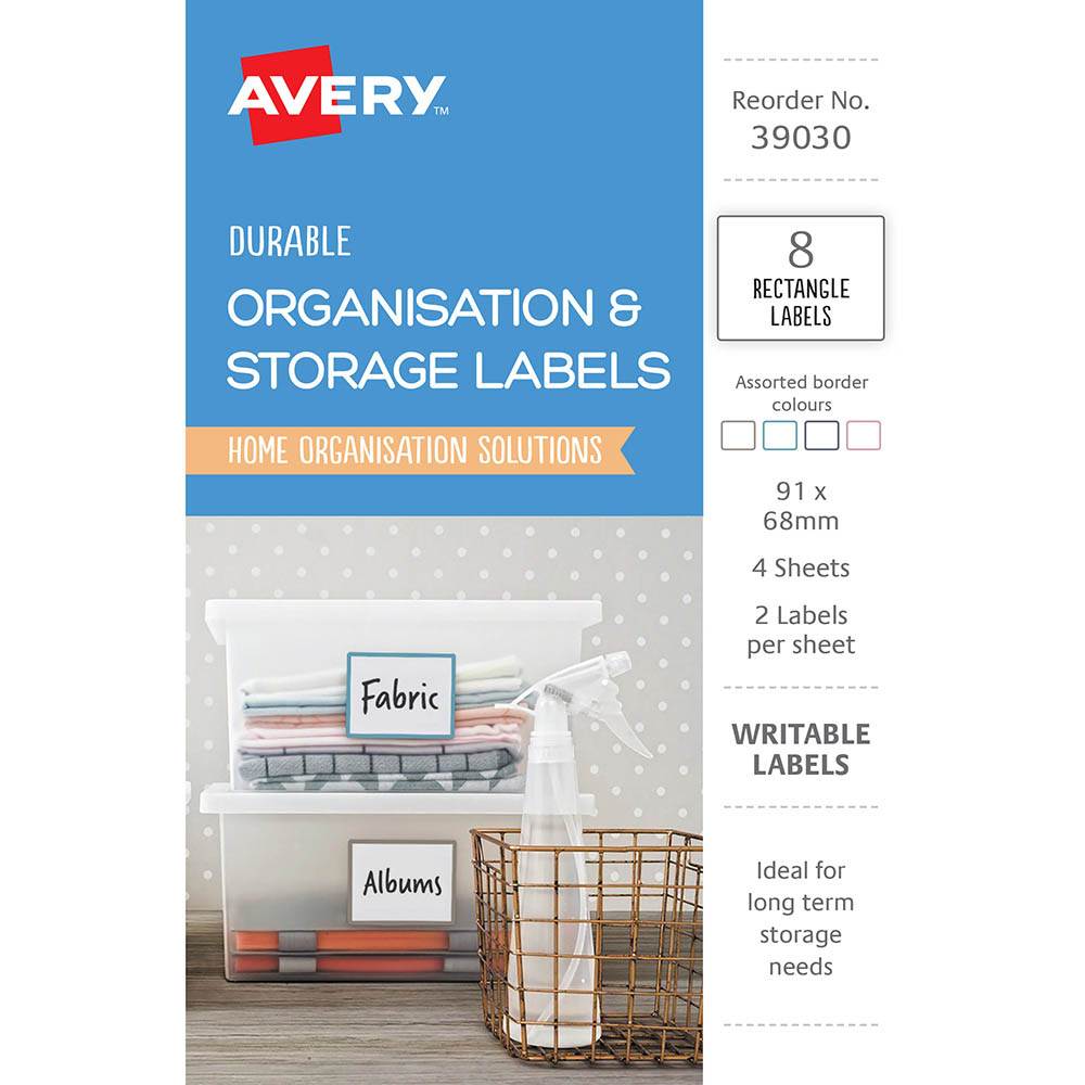 Image for AVERY 39030 ORGANISATION AND STORAGE LABELS RECTANGLE 91 X 68MM WHITE PACK 8 from Mackay Business Machines (MBM)