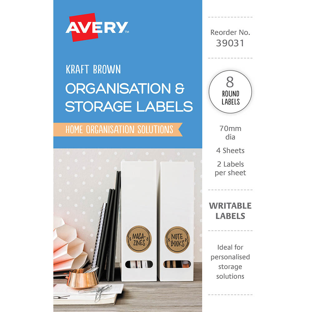 Image for AVERY 39031 ORGANISATION AND STOREAGE LABELS CIRCLE KRAFT BROWN PACK 8 from Mackay Business Machines (MBM)