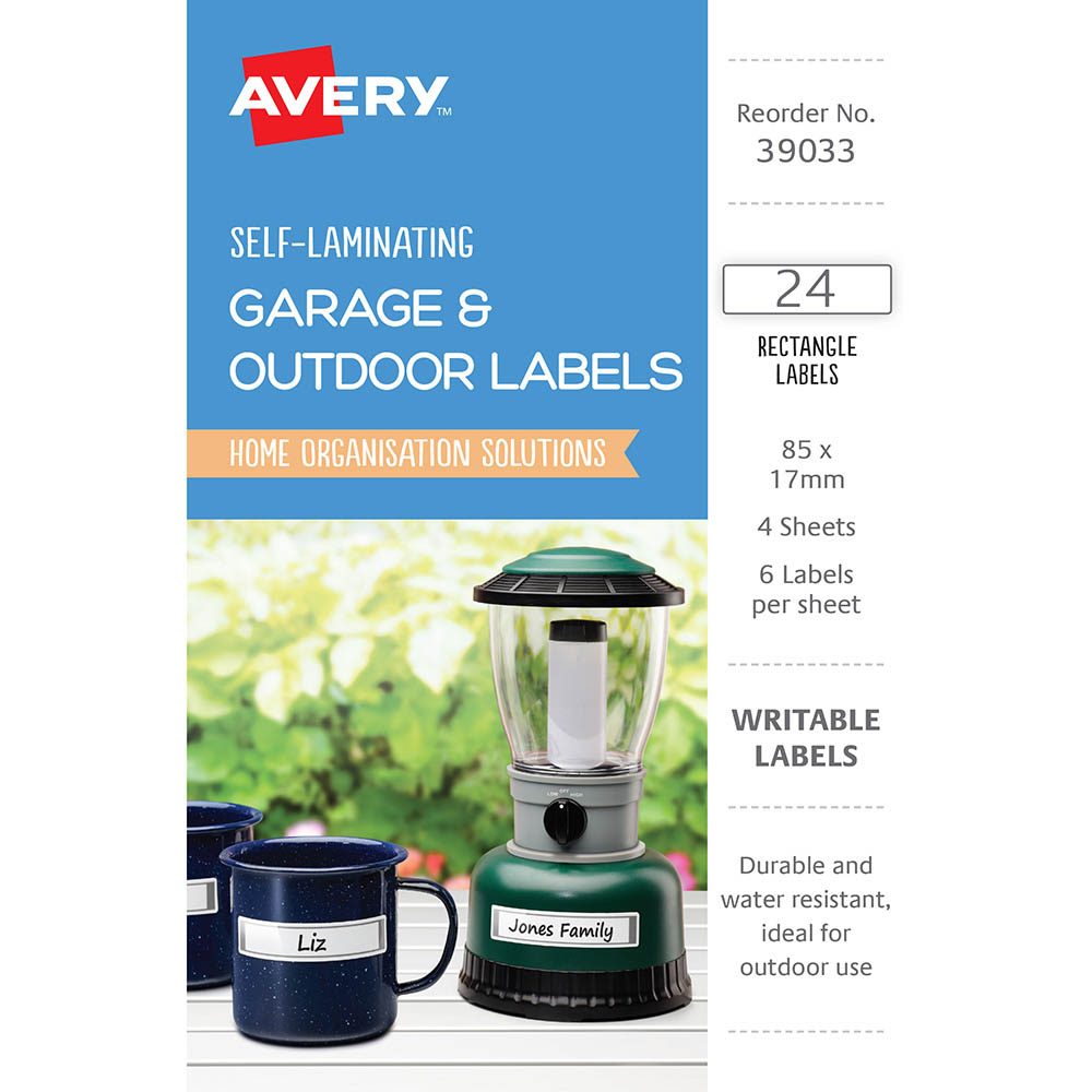 Image for AVERY 39033 SELF-LAMINATING LABELS GREY PACK 24 from Angleton's Office Products Depot