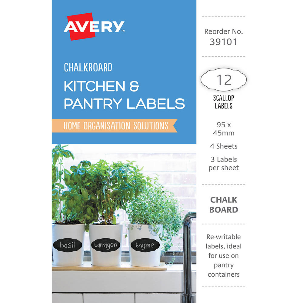 Image for AVERY 39101 CHALKBOARD LABELS SCOLLOP PACK 12 from Axsel Office National