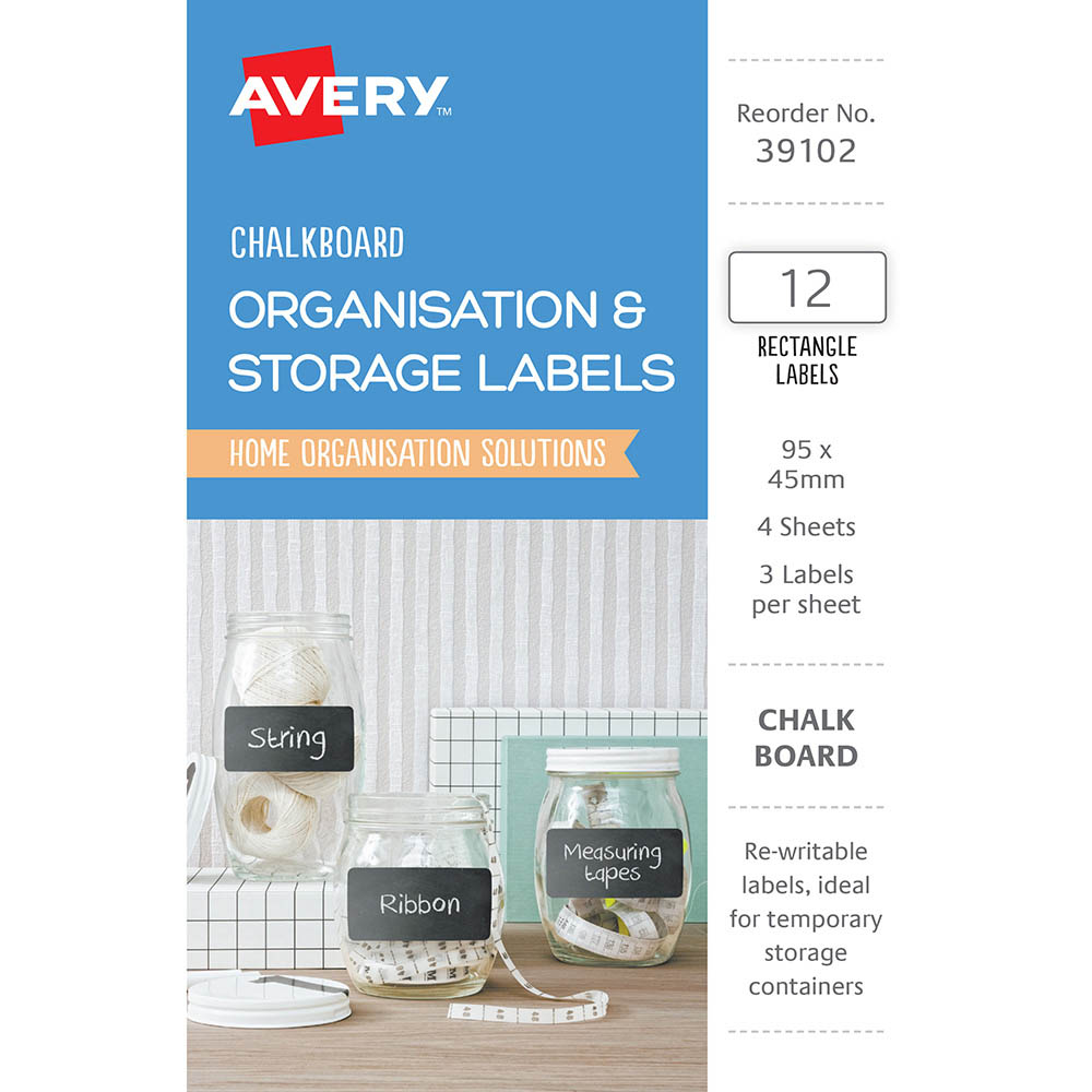 Image for AVERY 39102 ORGANISATION AND STORAGE CHALKBOARD LABELS RECTANGULAR 95 X 45MM PACK 12 from Mackay Business Machines (MBM)