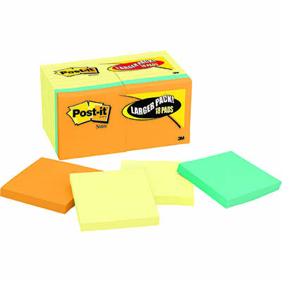 Image for POST-IT 654-14-4B ORIGINAL NOTES 76 X 76MM YELLOW PACK 14 PLUS 4 BONUS BRIGHT PADS from Mackay Business Machines (MBM)