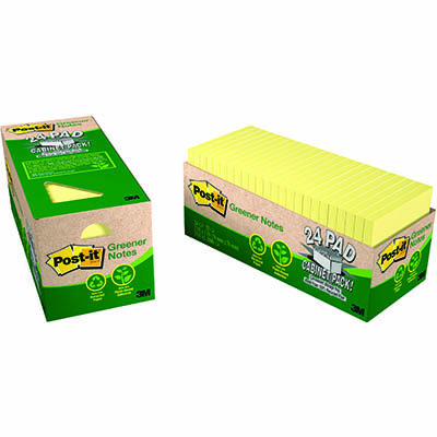Image for POST-IT 654R-24CP-CY 100% RECYCLED GREENER NOTES 76 X 76MM CANARY YELLOW CABINET PACK 24 from Paul John Office National