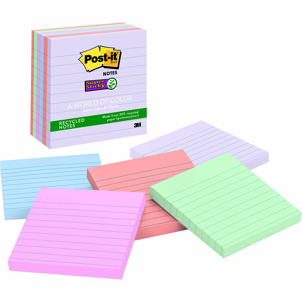 Image for POST-IT 675-6SSNRP RECYCLED SUPER STICKY LINED NOTES 101 X 101MM BALI PACK 6 from Office National Kalgoorlie