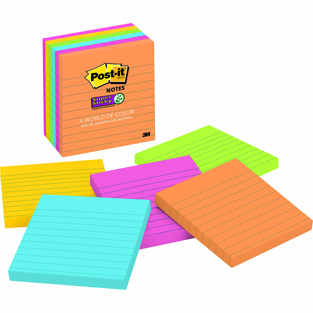 Image for POST-IT 6756SSUC SUPER STICKY LINED NOTES 98 X 98MM RIO DE JANEIRO PACK 6 from Office National Kalgoorlie
