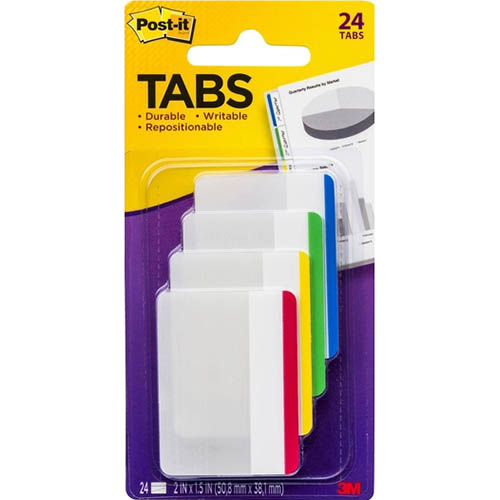 Image for POST-IT 686F-1 DURABLE FLAT FILING TABS ASSORTED PACK 4 from Office National Perth CBD