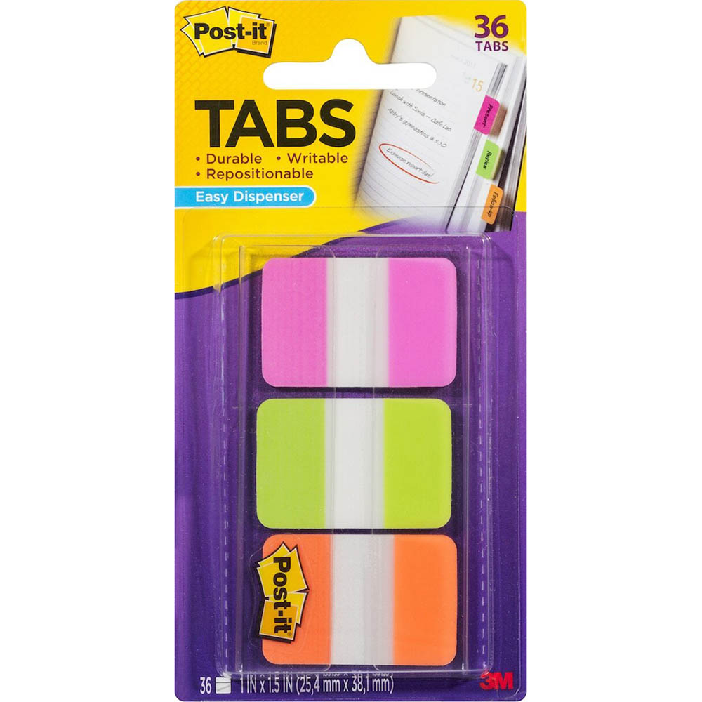 Image for POST-IT 686-RYB DURABLE TABS 3 COLOURS RED BLUE YELLOW PACK 66 from Office National Perth CBD
