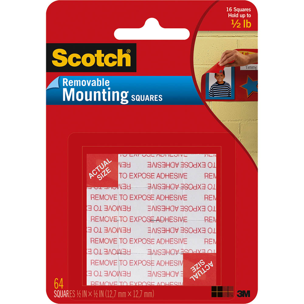 Image for SCOTCH 108-SML MOUNTING SQUARES REMOVABLE 13MM BLACK PACK 64 from Office National Perth CBD