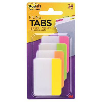 Image for POST-IT 686-PLOY DURABLE TABS 50 X 38MM, 6 TABS EACH PINK, LIME, ORANGE AND YELLOW from Paul John Office National