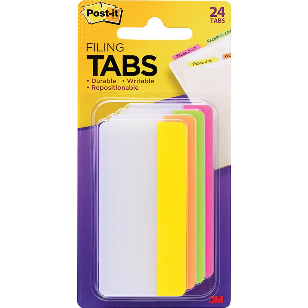 Image for POST-IT 686-PLOY3IN DURABLE TABS 6 TABS EACH PINK LIME ORANGE AND YELLOW from Paul John Office National