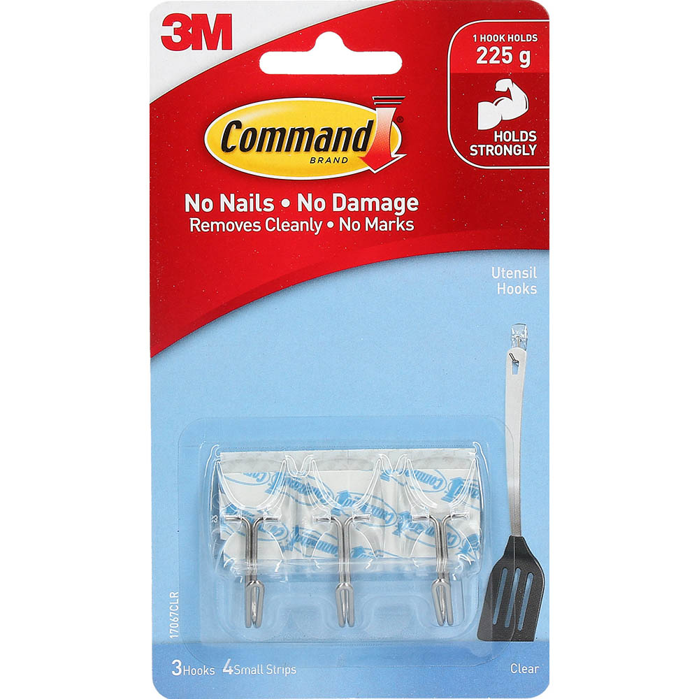 Image for COMMAND ADHESIVE WIRE HOOKS SMALL HOOKS WITH CLEAR STRIPS from Paul John Office National