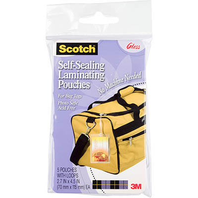 Image for SCOTCH LS853-5G SELF LAMINATING BAG TAGS WITH LOOP PACK 5 from Pirie Office National