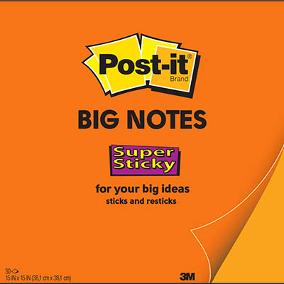 Image for POST-IT BN15 SUPER STICKY BIG NOTE 381 X 381MM ORANGE 30 SHEETS from Paul John Office National