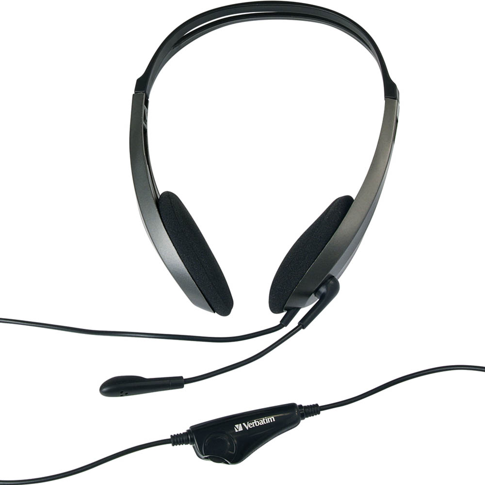 Image for VERBATIM MULTIMEDIA HEADSET WITH MICROPHONE BLACK/SILVER from Wetherill Park / Smithfield Office National