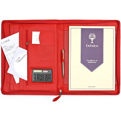 Image for DEBDEN EXECUTIVE PORTFOLIO ZIPPERED A4 PU COVER RED from Office National Perth CBD