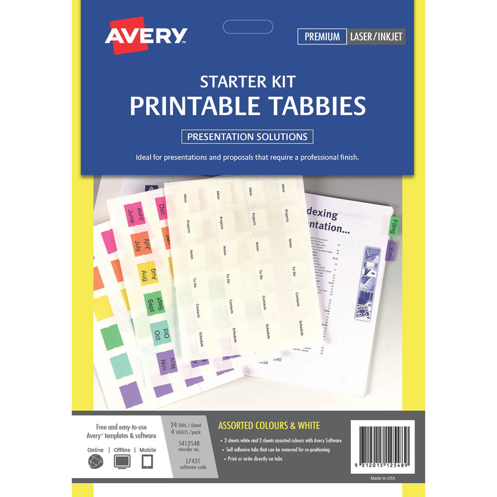 Image for AVERY 5412548 L7431 PRINT ON TABS ASSORTED COLOURS PACK 96 from Office National Perth CBD